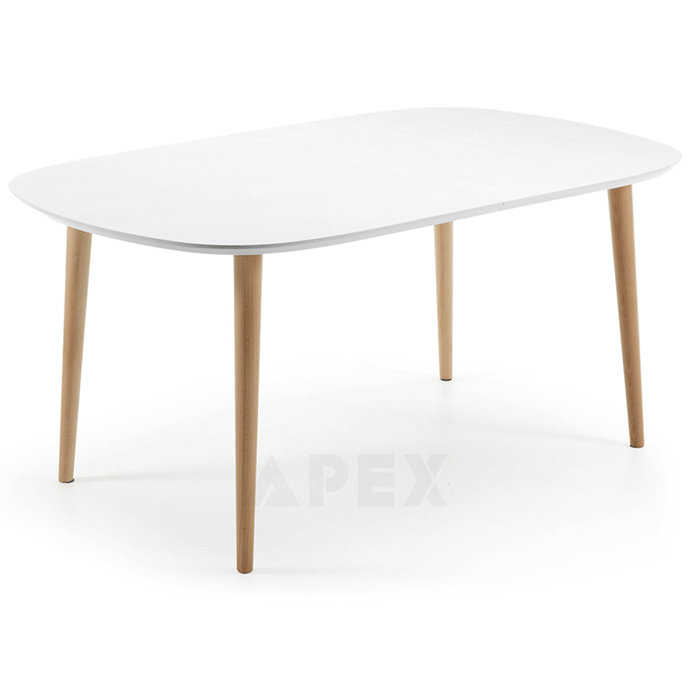 Antonelle Large Extendable Dining Table Oval White Top Natural Wood Legs 160 260cm Barons