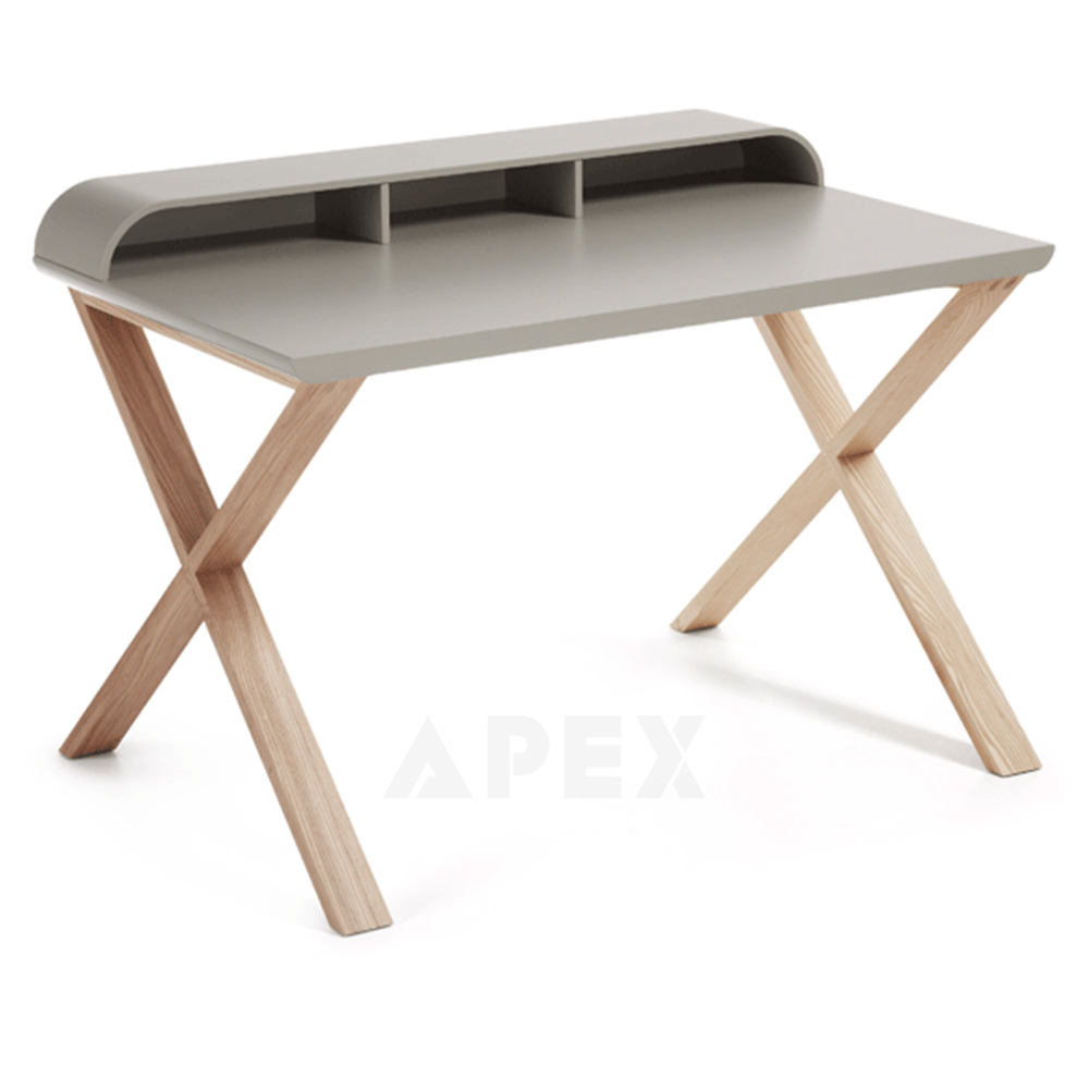 Ciera Light Grey Home Office Desk Matt Top Finish Ash Wood Legs Barons