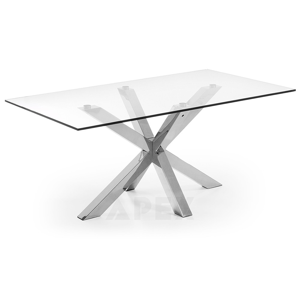 Corinne Gl Dining Table Stainless Steel Legs
