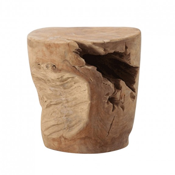 Decorative Stump Stool and Side Table In Solid Teak Wood
