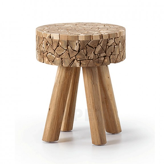 Solid Side Table / Stool Textured Wood Design