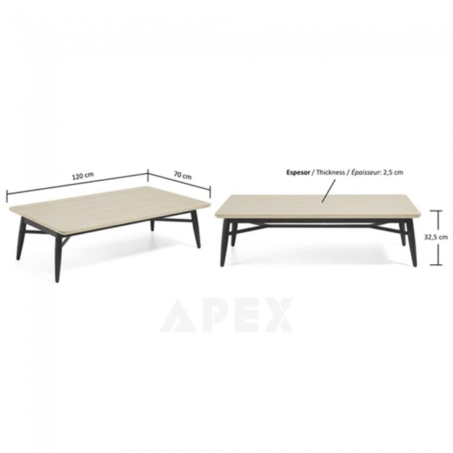 Ava Coffee Table Top In White American Oak And Metal 5