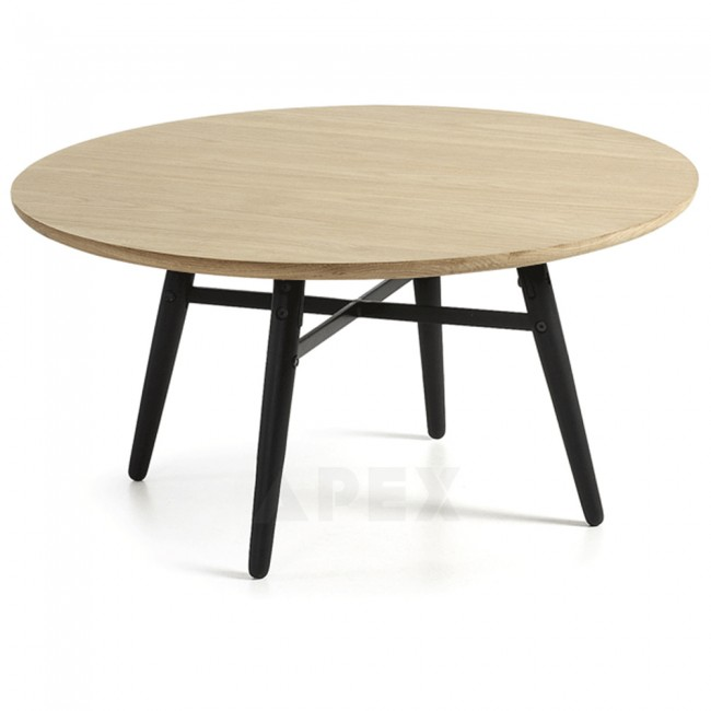 ava round coffee table top in white american oak and metal | barons