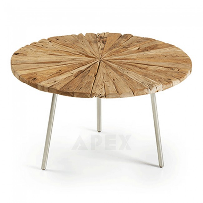 Round Coffee Table With Metal Legs: Sieglinde Round Coffee Table Rustic Teak Wood Top Metal