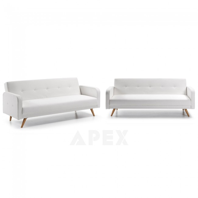 Irena Modern White Sofa Bed Wooden Legs