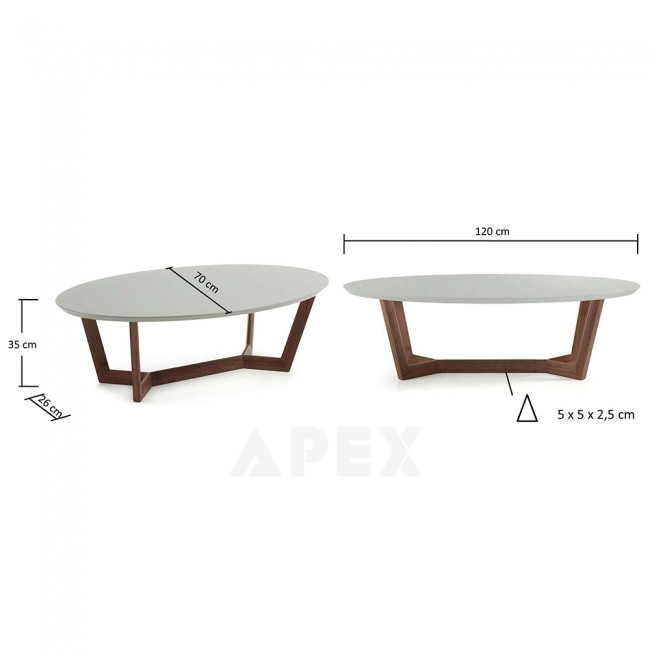 Cool Olesine Oval Coffee Table Walnut Wood Legs Interior Design Ideas Ghosoteloinfo
