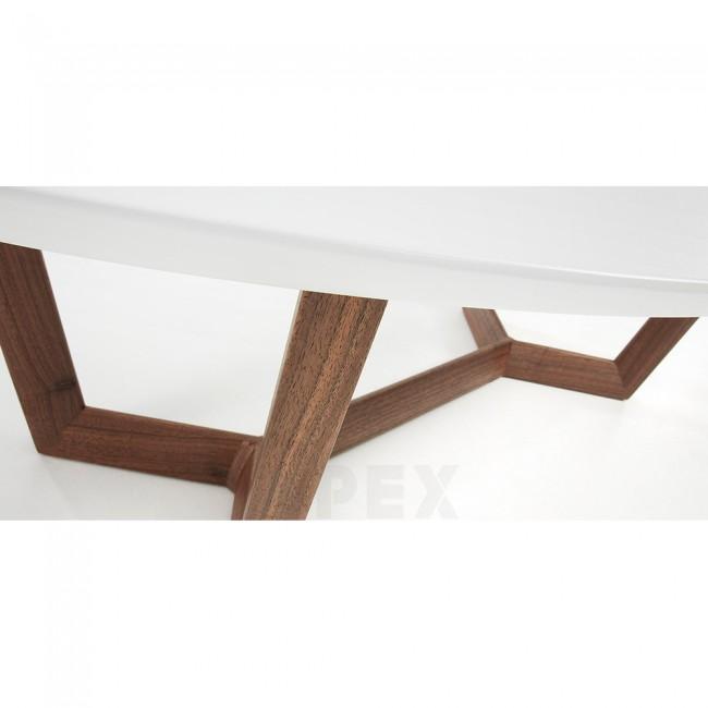 Oval Wood Coffee Table With Storage: Olesine Oval Coffee Table Walnut Wood Legs