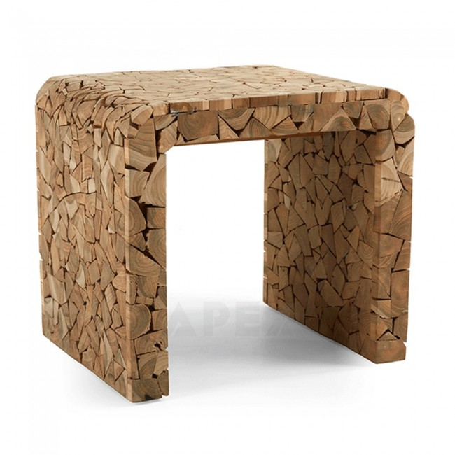 Natural Wood Side Table ~ Wooden side table timber mosaic natural wood decorative