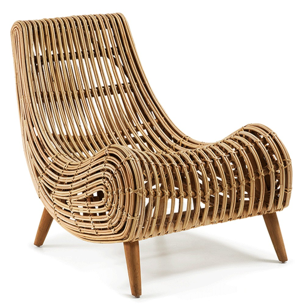 Pleasant Rattan Accent Chair Natural Wicker Finish Mahongany Wooden Pabps2019 Chair Design Images Pabps2019Com