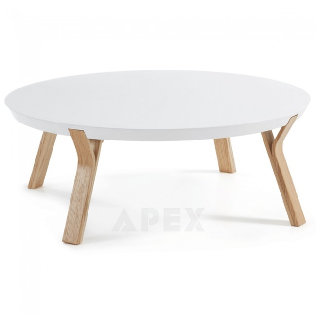 Lucina Round Coffee Table Ash Wooden Legs