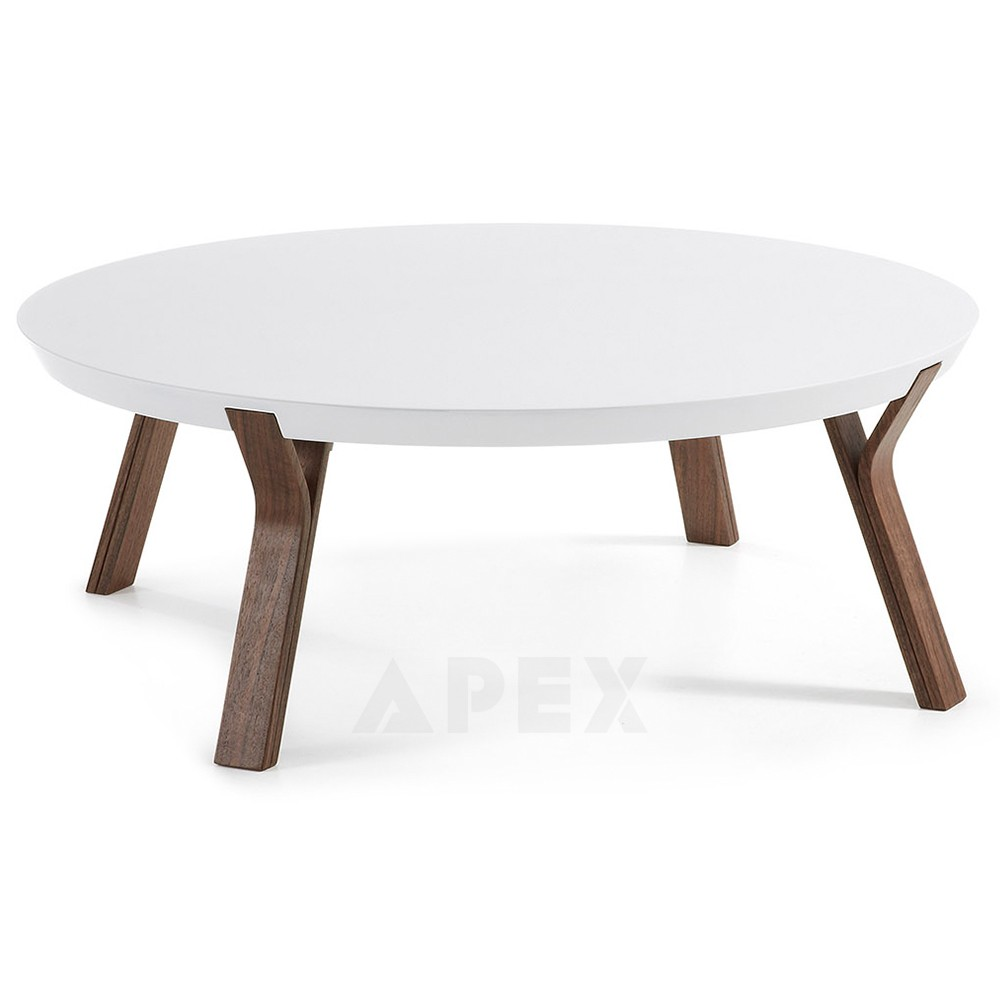 Lucina Round Coffee Table Walnut Wooden Legs