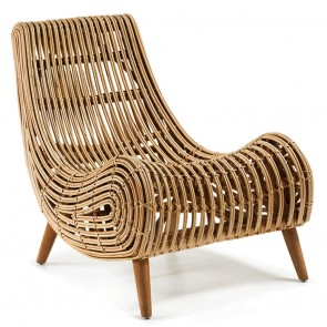 Armchair In Natural Finish Rattan Mahongany Wooden Legs