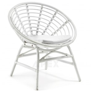 Armchair In White Lacquered Rattan Cotton Cushion Included