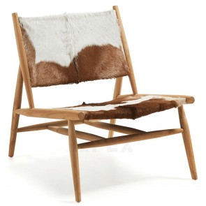 Hide Armchair Seat In Goat Leather with Solid Teak Wood Frame In Natural Finish