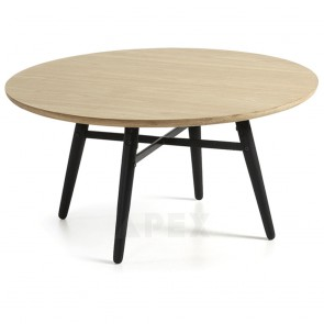 Ava Round Coffee Table Top In White American Oak and Metal 1