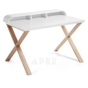 Ciera White Home Office Desk Matt Top Finish Ash Wood Legs 1