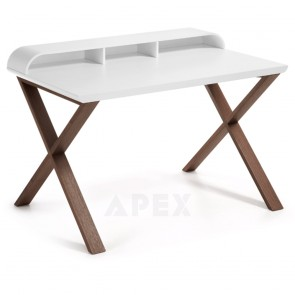 Ciera White Home Office Desk Matt Top Finish Walnut Wooden Legs 1