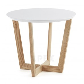 Cintia Side Table Ash Veneer Matt White Finish
