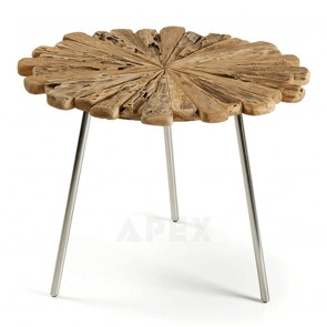 Charite Coffee Table Wooden Teak Top Chromed Legs