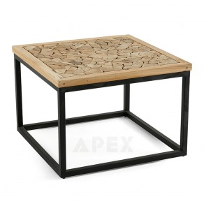 Coffee Table In Recycled Teak Wood with Black Tube Iron Legs