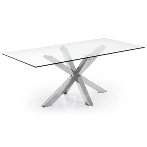Corinne Glass Table Stainless Steel Legs