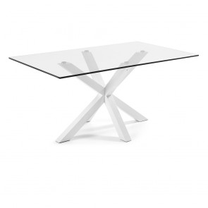 Corinne Glass Dining Table White Legs