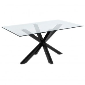 Corinne Glass Table Black Legs