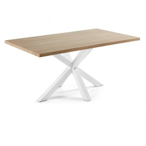 Corinne Timber Dining Table White Legs