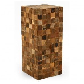 Decorative Cube In Mosiac of Natural Recycled Teak Wood