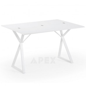 Emely White Extendable Table with White Steel Legs Max Length 90cm