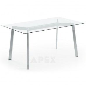 Lillie Dining Table with Chromed Legs and Top In Tempered Clear Glass