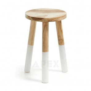 Round Stool In Solid Munggur Wood