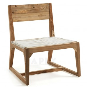 Solid Teak Chair Wood Seat In Polyrattan