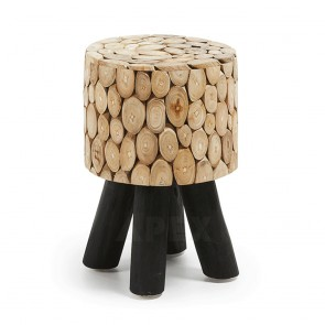 Stool with Sliced Teak Branches Seat Legs In Solid Teak