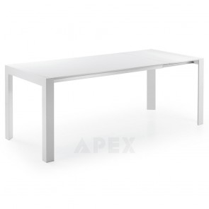 Susette Extendable White Dining Table with White Aluminum Legs Max Length 210cm