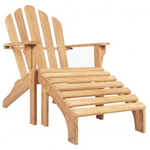 Teak Adriondack Chair Lounger with Foot Stool