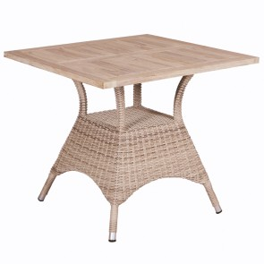 Venice Teak Wicker Outdoor Dining Table