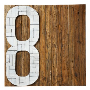 Wall Decoration Made In Recycled Tropical Wood Natural Color Background and White Number