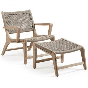 Wooden Rattan Occasional Armchair with Footrest