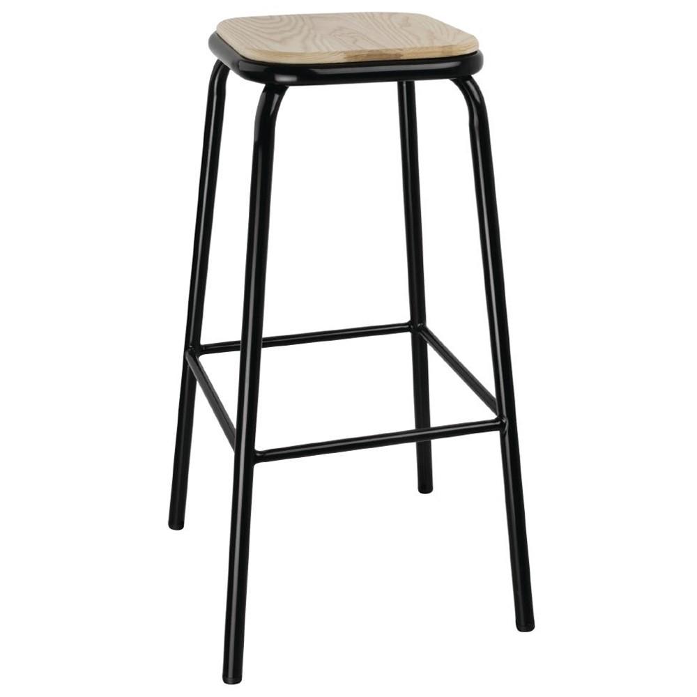 Industrial Bar Stool Wooden Seat Black