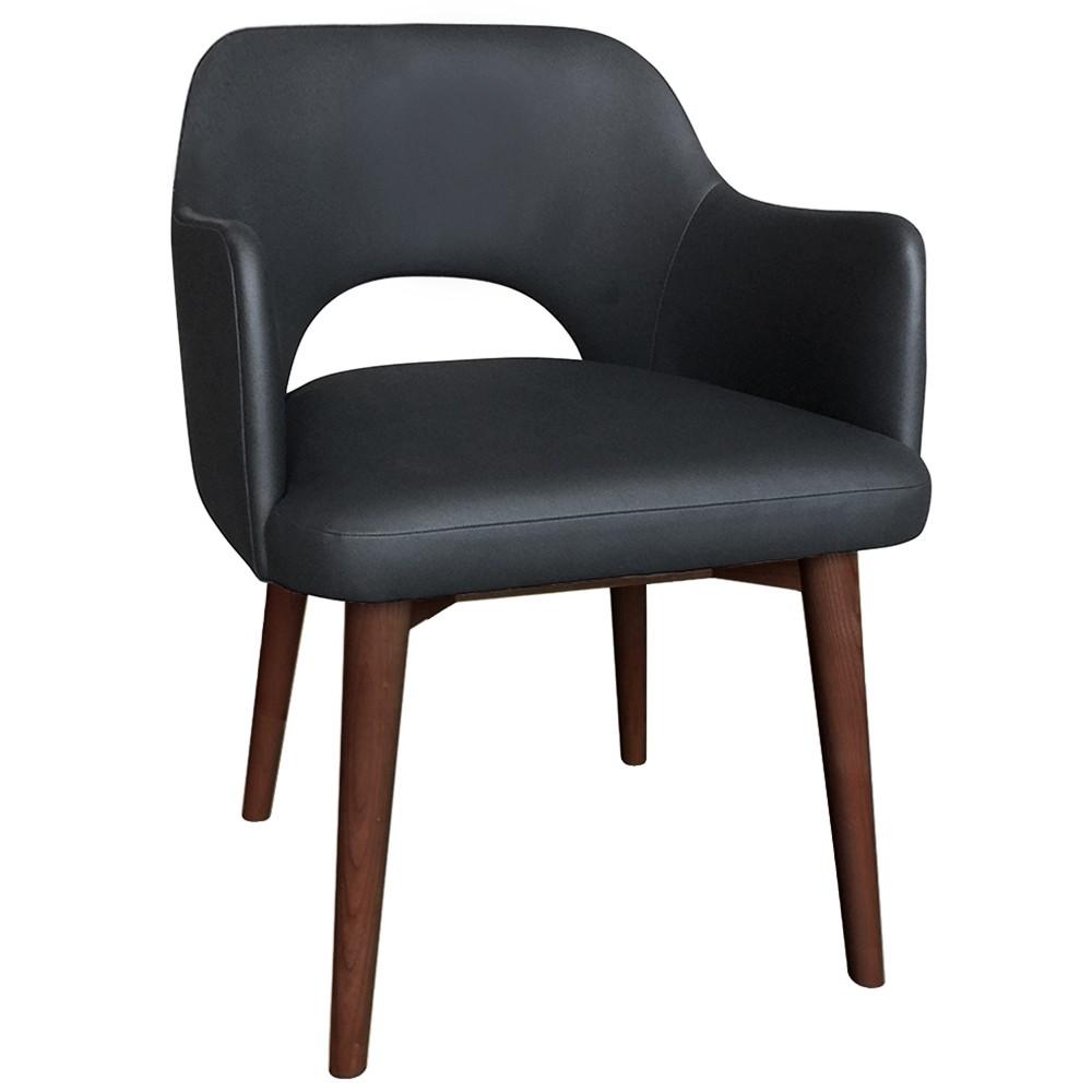 Scandi Vinyl Tub Chair Walnut Legs