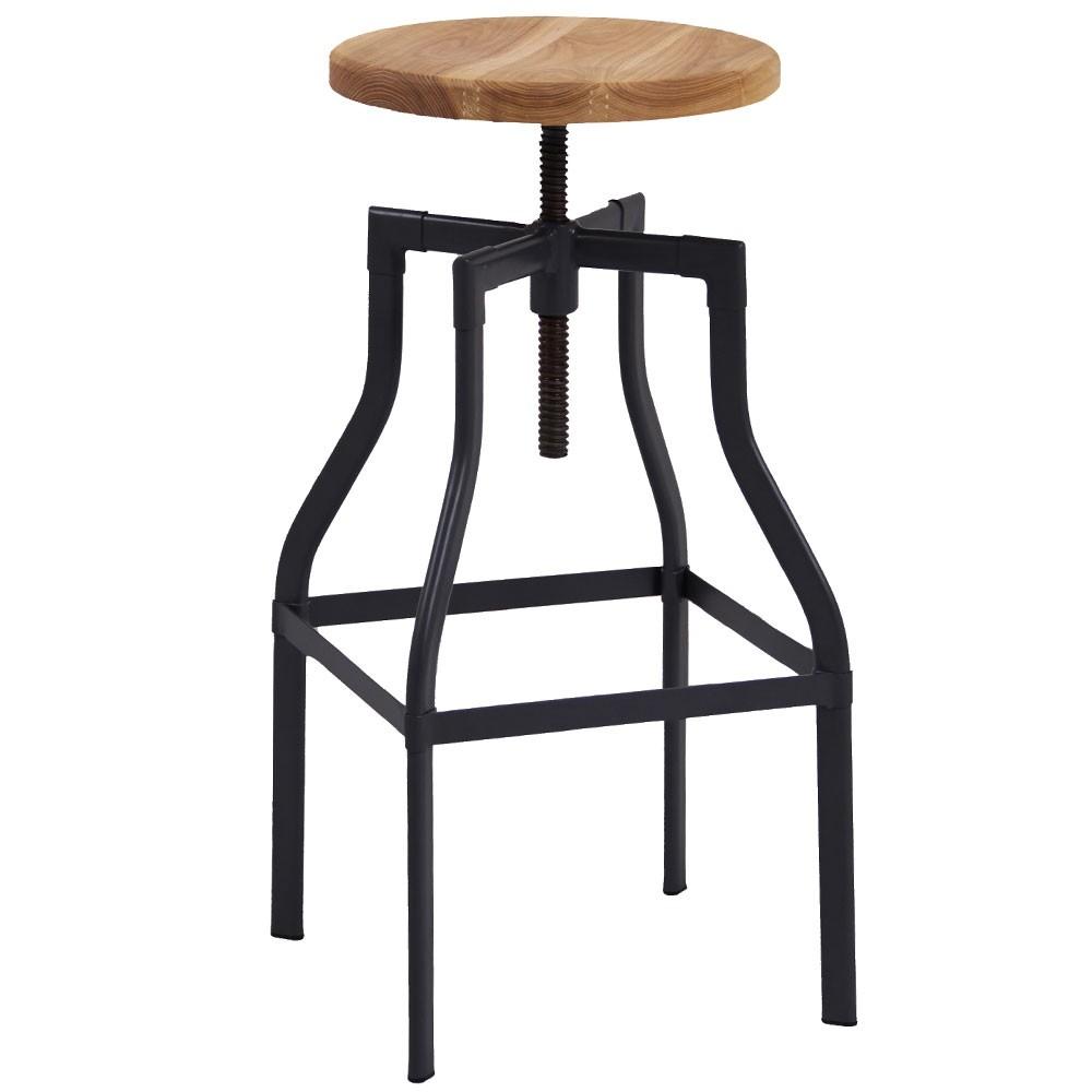 Turner Industrial Bar Stool Ash Timber Seat