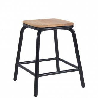 Industrial Stool Wooden Seat