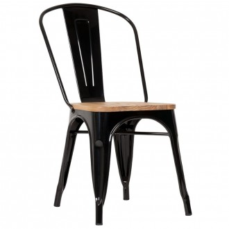 Tolix Industrial Chair with Wooden Seat