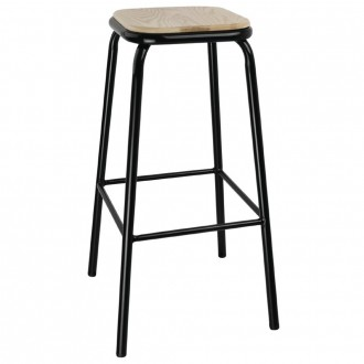 Industrial Bar Stool Wooden Seat Black