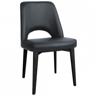 Scandi Vinyl Side Chair Black Wood Legs