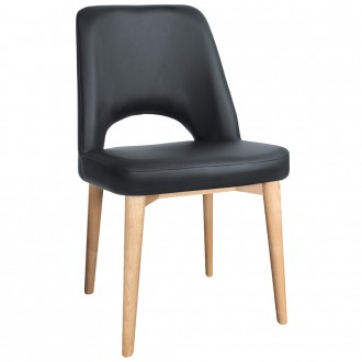 Scandi Side Chair Vinyl Seat Natural Wood Legs