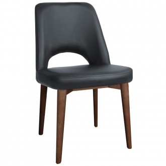 Scandi Vinyl Side Chair Walnut Wood Legs