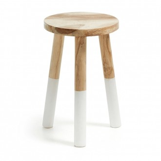Natural Munggur Wood Round Stool
