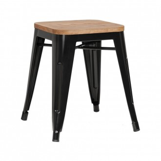 Tolix Low Stool Wooden Seat